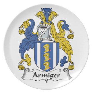 Escudo de la familia del Armiger Plato De Comida