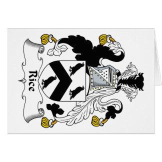 Escudo de la familia del arroz tarjeta de felicitación