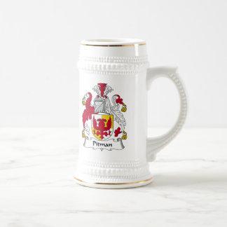 Escudo de la familia del aserrador de foso jarra de cerveza