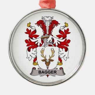 Escudo de la familia del Bagger Adorno Redondo Plateado
