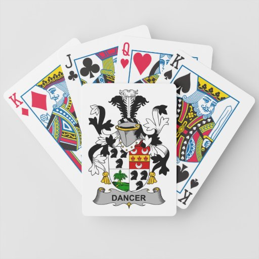 Escudo de la familia del bailarín cartas de juego