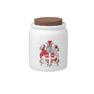 Escudo de la familia del baño jarra para caramelo