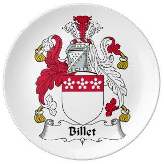 Escudo de la familia del billete plato de cerámica