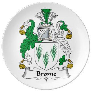 Escudo de la familia del Brome Plato De Cerámica