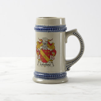 Escudo de la familia del caballero jarra de cerveza