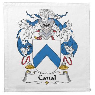 Escudo de la familia del canal servilleta imprimida