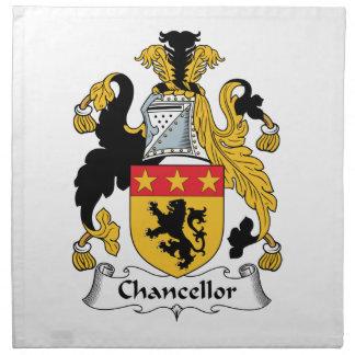Escudo de la familia del canciller servilletas imprimidas