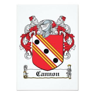 Escudo de la familia del cañón invitación 12,7 x 17,8 cm