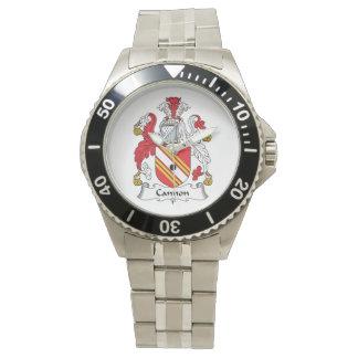 Escudo de la familia del cañón relojes de pulsera