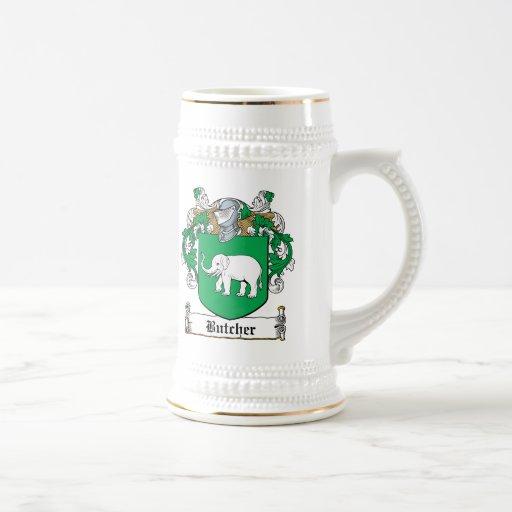 Escudo de la familia del carnicero tazas de café