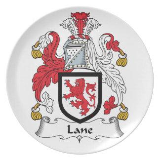 Escudo de la familia del carril plato para fiesta