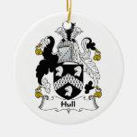 Escudo de la familia del casco ornaments para arbol de navidad