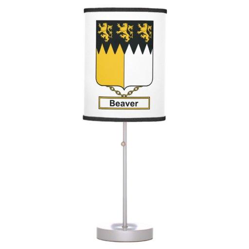 Escudo de la familia del castor lámpara de escritorio
