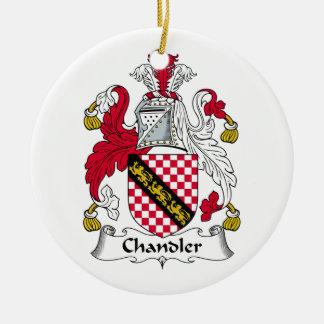 Escudo de la familia del cerero adorno navideño redondo de cerámica