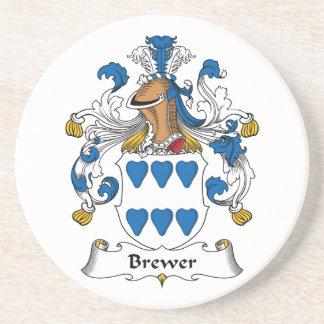 Escudo de la familia del cervecero posavasos cerveza
