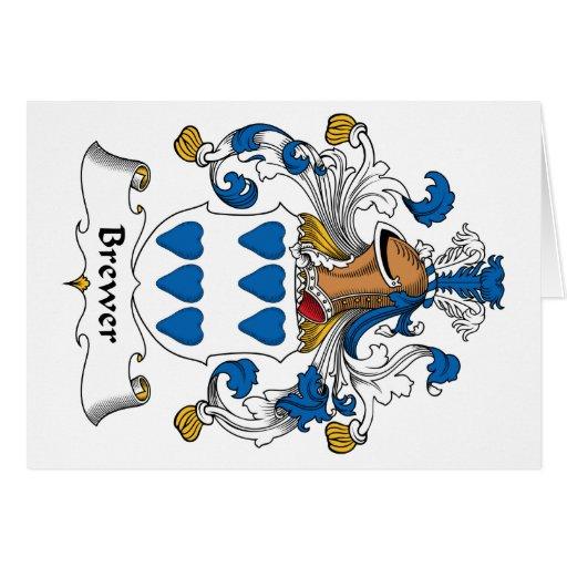 Escudo de la familia del cervecero tarjeta de felicitación