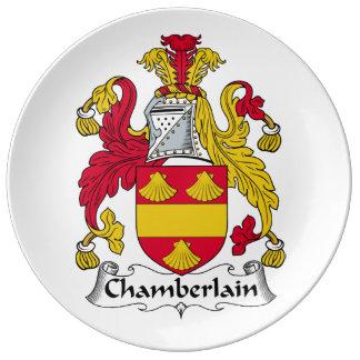 Escudo de la familia del chambelán plato de cerámica
