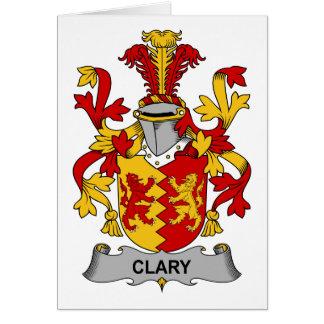 Escudo de la familia del Clary Tarjeta De Felicitación