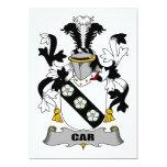 Escudo de la familia del coche invitación 12,7 x 17,8 cm