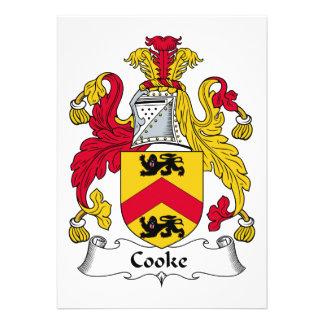 Escudo de la familia del cocinero invitación personalizada