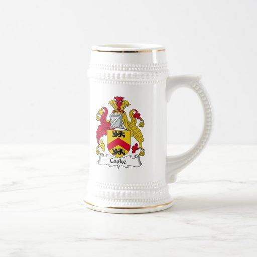 Escudo de la familia del cocinero jarra de cerveza