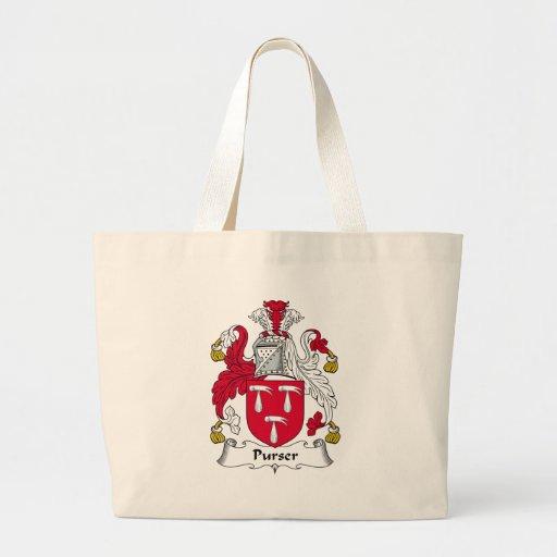 Escudo de la familia del contador de navío bolsa tela grande