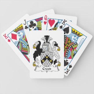 Escudo de la familia del credo baraja de cartas