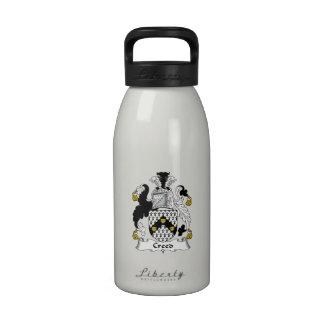 Escudo de la familia del credo botella de beber