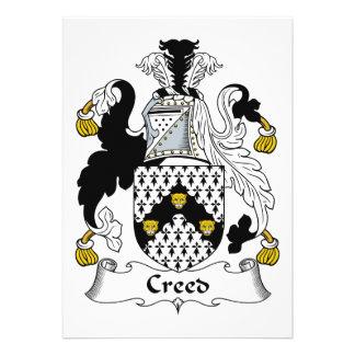 Escudo de la familia del credo invitación personalizada