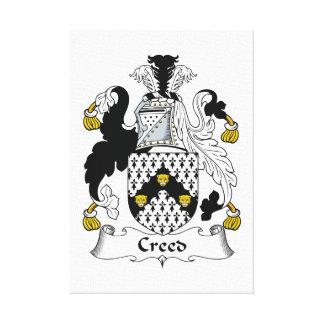 Escudo de la familia del credo impresión en lona estirada