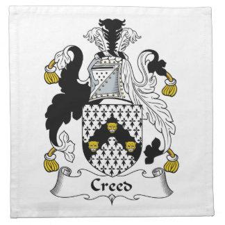 Escudo de la familia del credo servilleta