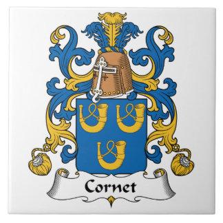 Escudo de la familia del cucurucho azulejo cuadrado grande
