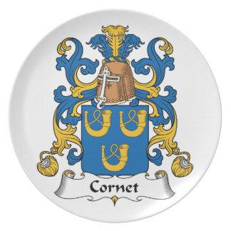 Escudo de la familia del cucurucho plato de cena
