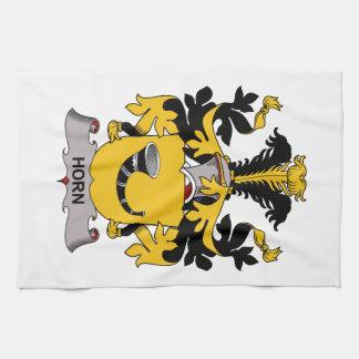 Escudo de la familia del cuerno toallas de mano