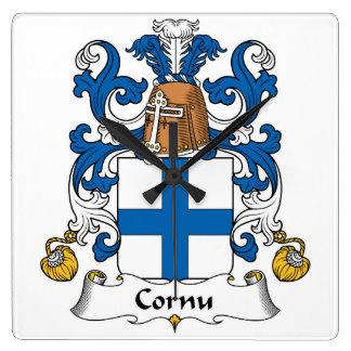 Escudo de la familia del cuerno relojes de pared