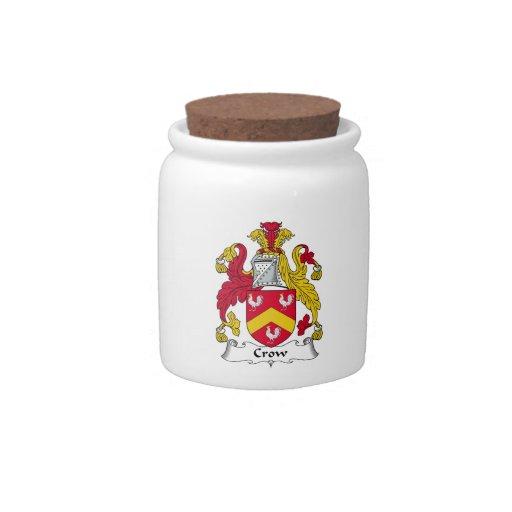 Escudo de la familia del cuervo jarras para caramelos