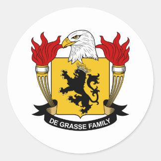 Escudo de la familia del De Grasse Pegatina Redonda