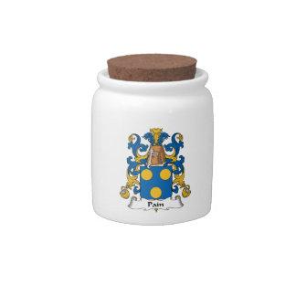 Escudo de la familia del dolor jarra para caramelo