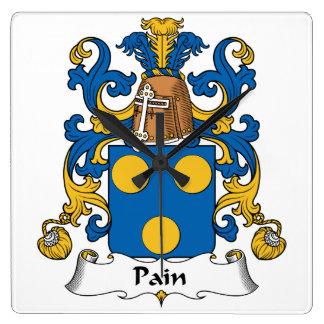 Escudo de la familia del dolor reloj cuadrado