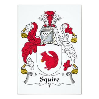 Escudo de la familia del escudero invitación 12,7 x 17,8 cm