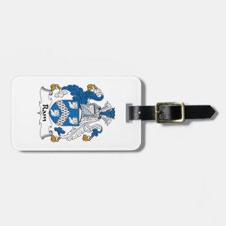 Escudo de la familia del espolón etiqueta de equipaje