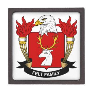 Escudo de la familia del fieltro cajas de recuerdo de calidad