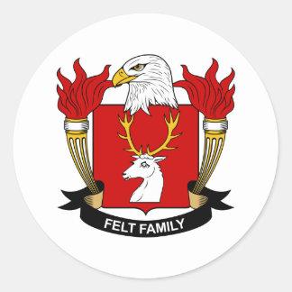 Escudo de la familia del fieltro pegatina redonda