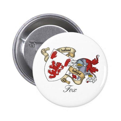 Escudo de la familia del Fox Pin Redondo De 2 Pulgadas