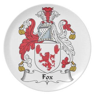 Escudo de la familia del Fox Platos De Comidas