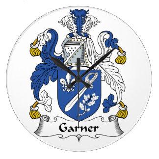 Escudo de la familia del Garner Reloj Redondo Grande