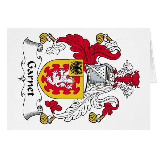 Escudo de la familia del granate tarjeta de felicitación