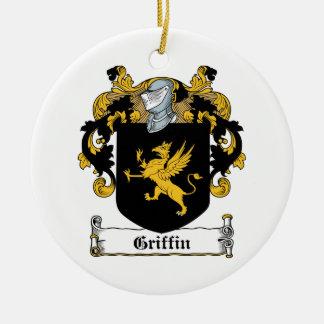 Escudo de la familia del grifo adorno navideño redondo de cerámica