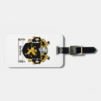 Escudo de la familia del grifo etiquetas para maletas