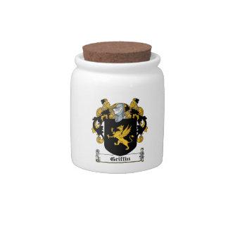 Escudo de la familia del grifo jarras para caramelos